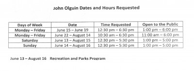 Requested hours for public use of SPHS Olguin campus pool.