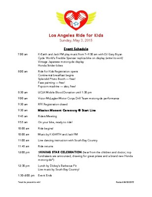 Schedule of events for the Los Angeles Ride for Kids, Sunday, May 3, 2015.
