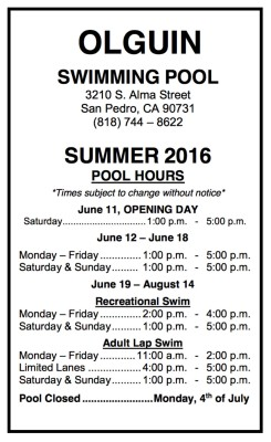 Olguin Pool summer hours