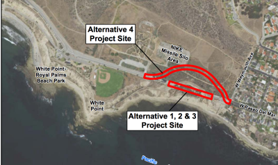 Paseo del Mar reconstruction options map